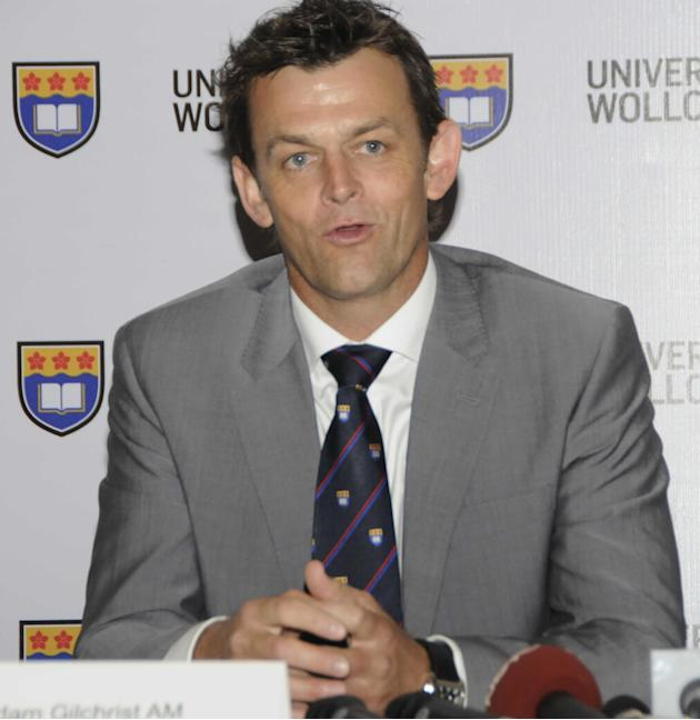Former Australian cricketer Adam Gilchrist addressing a press conference at Australian Embassy in New Delhi on Nov.12, 2013. (Photo: IANS)