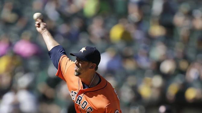 Houston Astros pitcher Luke Gregerson works against the Oakland Athletics in the ninth inning of a baseball game Sunday, May 1, 2016, in Oakland, Calif. (AP Photo/Ben Margot)