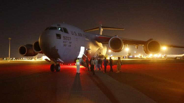 U.S. Air Force plane carrying two Sudanese detainees released from the Guantanomo facility from Guantanamo in Cuba, arrives at Khartoum Airport