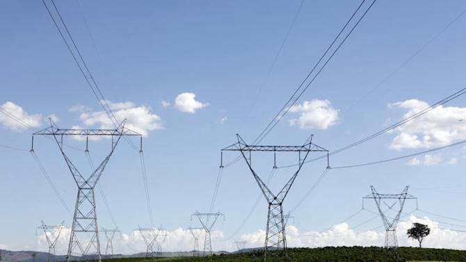 Electricity transmission towers stand over a coffee farm in Santo Antonio do Jardim