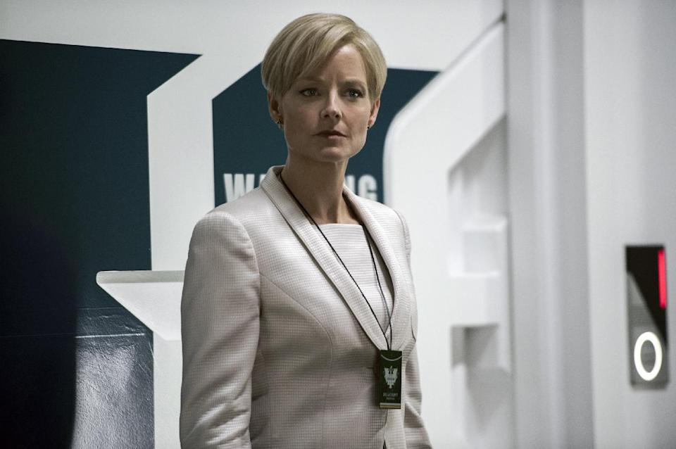 "This film publicity image released by TriStar, Columbia Pictures-Sony shows Jodie Foster in a scene from ""Elysium."" (AP Photo/TriStar, Columbia Pictures - Sony, Kimberley French)"