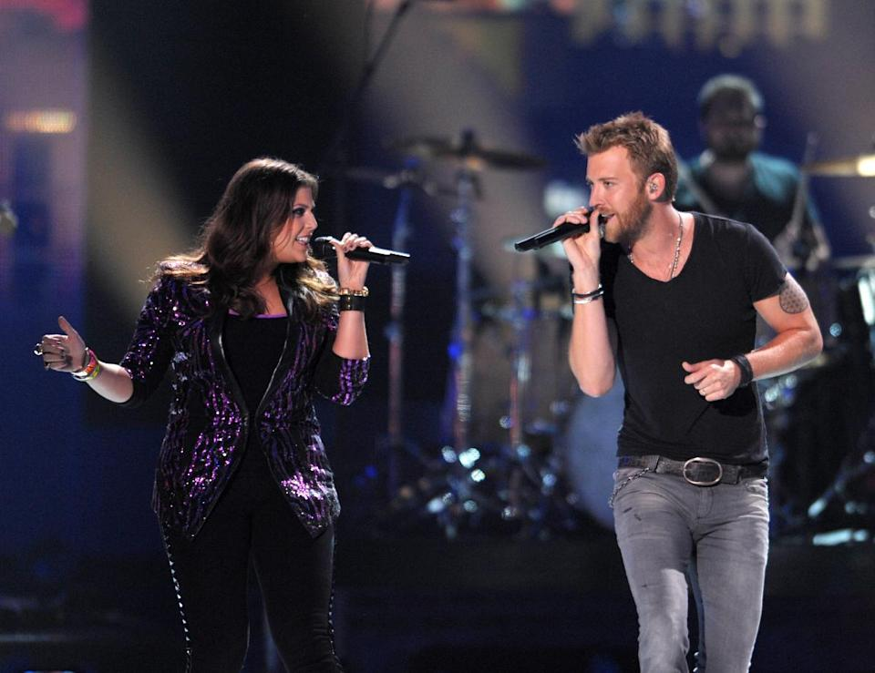 Hillary Scott, left and Charles Kelley perform at the 2012 CMT Music Awards on Wednesday, June 6, 2012 in Nashville, Tenn. (Photo by John Shearer/Invision/AP)