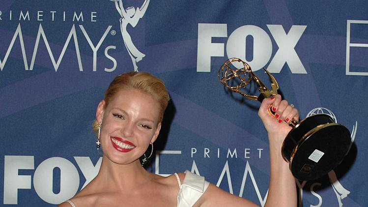 Katherine Heigl poses with her Best Supporting Actress in a Drama Emmy in the press room at the 59th Annual Primetime Emmy Awards at the Shrine Auditorium on September 16, 2007 in Los Angeles, California.