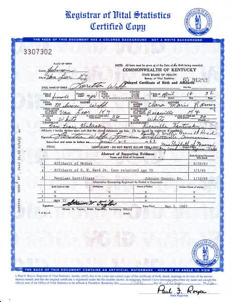 "An image of the birth certificate of country music legend Loretta Lynn, who was born Loretta Webb, is seen in an image provided by the Kentucky state Office of Vital Statistics. Newly discovered documents indicate country music legend Loretta Lynn is three years older than she has led people to believe, a change that casts shadows on the story told in ""Coal Miner's Daughter."" The birth certificate on file at the state Office of Vital Statistics in Frankfort, Ky., shows that Loretta Webb was born on April 14, 1932, in Johnson County, Kentucky. That makes her 80 years old, not 77, as numerous books and other references claim her to be, based on her widely-accepted birth year of 1935. The record was filed in 1965.   (AP Photo/Kentucky state Office of Vital Statistics)"