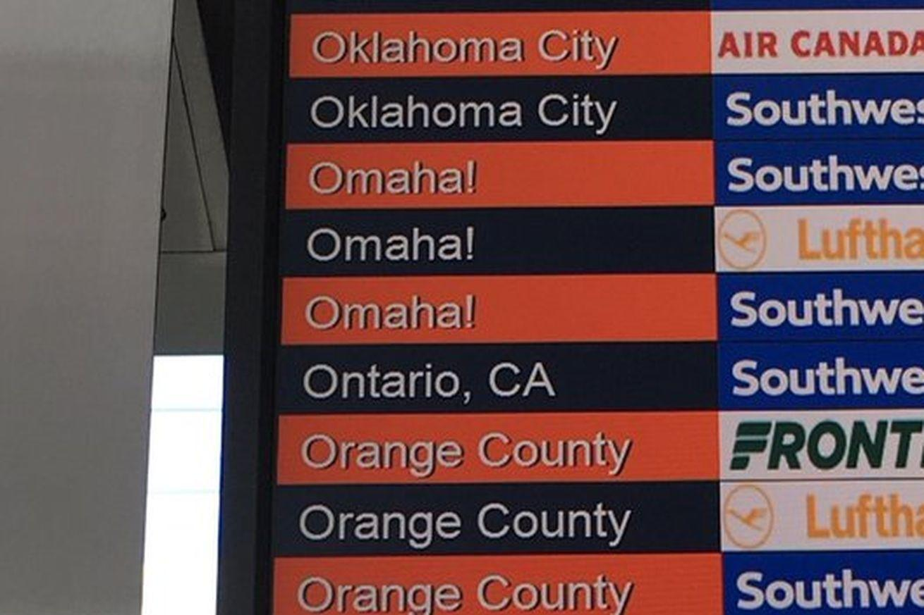 The Denver airport is supporting the Broncos with 'Omaha!' departure boards