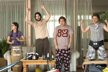Charlyne Yi , Martin Starr , Jonah Hill and Seth Rogen in Universal Pictures' Knocked Up