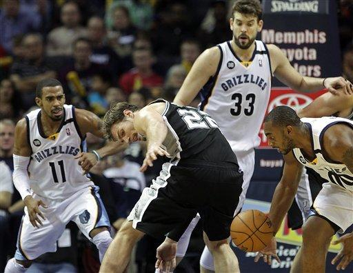 Grizzlies win 4th straight, in OT over Spurs