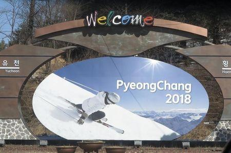 The advertising hoarding promoting the 2018 Winter Olympics stands in PyeongChang