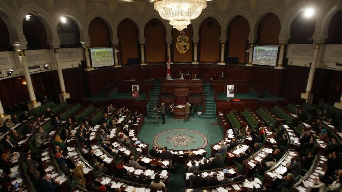 A general view of Tunisia's Constituent Assembly during the beginning of voting on the country's constitution drafts, in Tunis