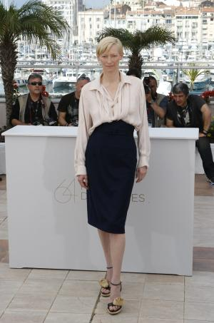 Actress Tilda Swinton poses during a photo call for We Need to Talk About Kevin, at the 64th international film festival, in Cannes, southern France, Thursday, May 12, 2011. (AP Photo/Lionel Cironneau)