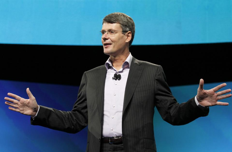 Thorsten Heins, president and CEO of Research In Motion, the company that makes BlackBerry, delivers the keynote speech during the BlackBerry World conference, Tuesday, May 1, 2012, in Orlando Fla. (AP Photo/Reinhold Matay)