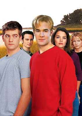 Joshua Jackson, Kerr Smith, James Van Der Beek, Katie Holmes and Michelle Williams in WB's Dawson's Creek 