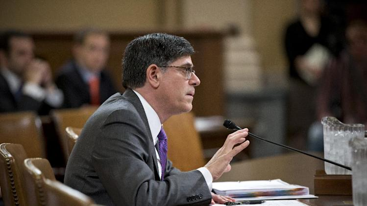 Treasury Secretary Jack Lew testifies on Capitol Hill in Washington, Thursday, April 11, 2013, before the House Ways and Means Committee to defend President Barack Obama's budget proposal for fiscal year 2014.  (AP Photo/J. Scott Applewhite)