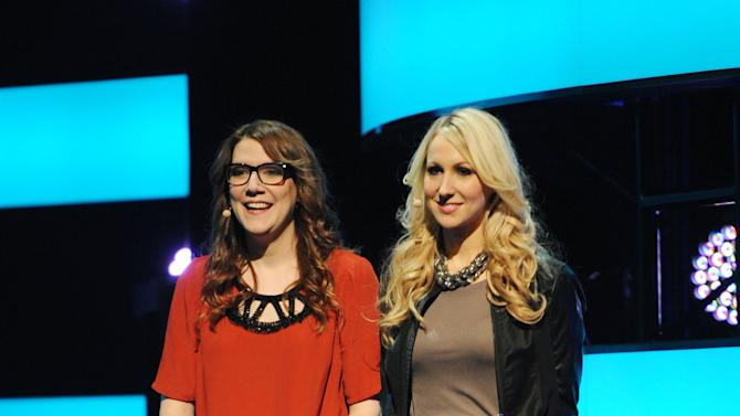 """IMAGE DISTRIBUTED FOR MTV - From left, Sara Schaefer and Nikki Glaser presenting their new show """"Nikki and Sara LIVE"""" at the 2013 MTV Upfront, on Thursday, April 25, 2013 at the Beacon Theater in New York. (Photo by Scott Gries/Invision/AP Images)"""