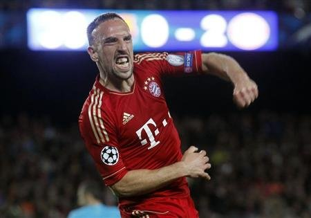 Bayern Munich's Ribery celebrates after a goal was scored against Barcelona during Champions League semi-final second leg soccer match in Barcelona