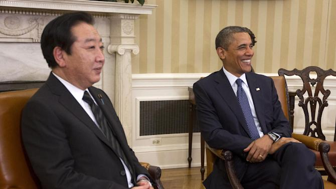 President Barack Obama and Japanese Prime Minister Yoshihiko Noda meet in the Oval Office of the White House in Washington, Monday, April 30, 2012. (AP Photo/Pablo Martinez Monsivais)