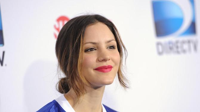 Katharine McPhee arrives at DIRECTV's Seventh Annual Celebrity Beach Bowl, on Saturday, Feb. 2, 2013 in New Orleans. (Photo by Evan Agostini/Invision/AP)