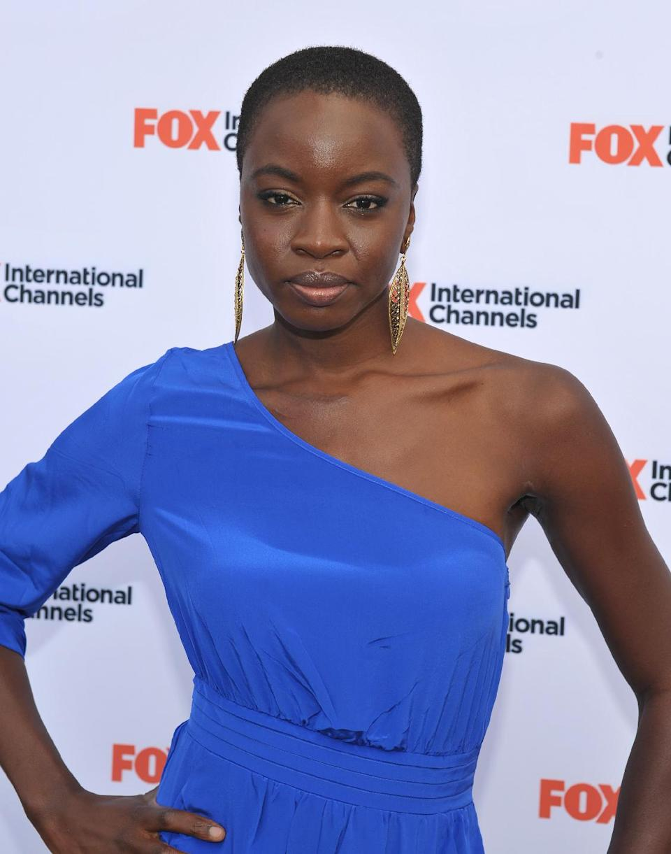 "COMMERCIAL IMAGE -  Danai Gurira attends  AMC's ""The Walking Dead"" Fox Breakfast on Friday July 13, 2012, in San Diego. (Photo by John Shearer/Invision for AMC/AP Images)"