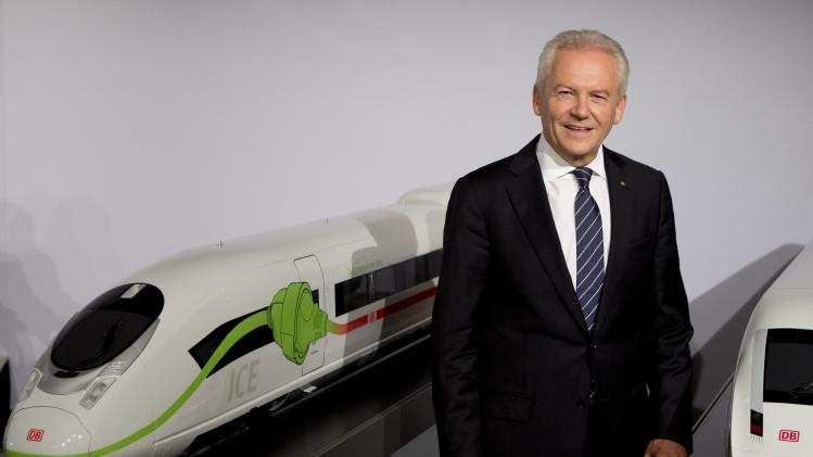 Chairman of German Railway Deutsche Bahn Grube poses ahead of the company's half year news conference in Berlin