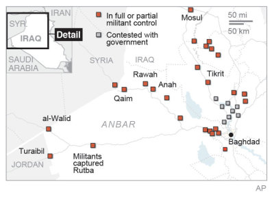 Map provides updates on violence in Iraq's Anbar province.