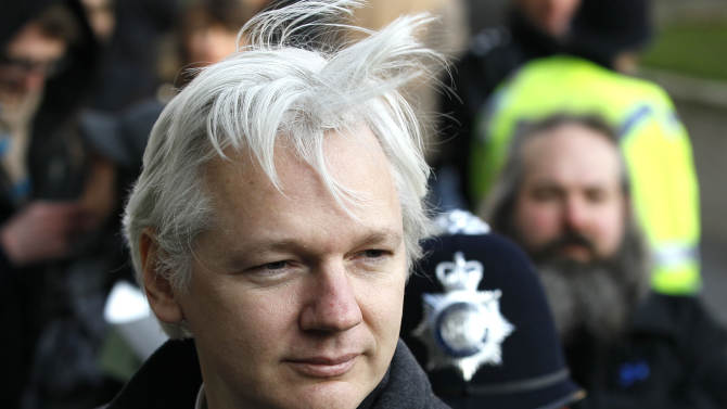 FILE - In this Feb. 1, 2012 file photo, Julian Assange, WikiLeaks founder, arrives at the Supreme Court in London. It has been two months since Assange ducked into Ecuador's London embassy to seek political asylum, and as the stalemate over Assange settled in Friday, Aug. 17, 2012, it appeared London's veiled threat that it could storm Ecuador's embassy and drag Assange out has backfired — drawing supporters to the mission where the WikiLeaks founder is holed up and prompting angry denunciations from Ecuador and elsewhere. (AP Photo/Kirsty Wigglesworth, File)