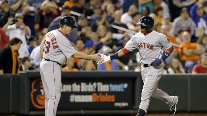 Boston Red Sox third base coach Brian Butterfield, left, greets Yoenis Cespedes who rounds the bases after hitting a solo home run in the fourth inning of a baseball game against the Baltimore Orioles, Friday, Sept. 19, 2014, in Baltimore. (AP Photo/Patrick Semansky)
