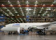 "In-production Boeing 787 Dreamliner aircraft for ANA, seen at the Boeing production facilities and factory at Paine Field in Everett, Washington. Boeing said around 55 of its flagship 787 Dreamliners ""have the potential"" to develop a fuselage shimming problem, but reiterated that the fault was being fixed"