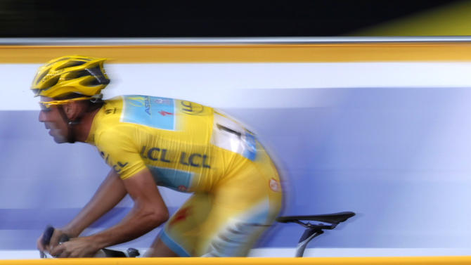 Astana team rider Vincenzo Nibali of Italy cycles during Point Race 2 at the Tour de France Saitama Criterium race in Saitama