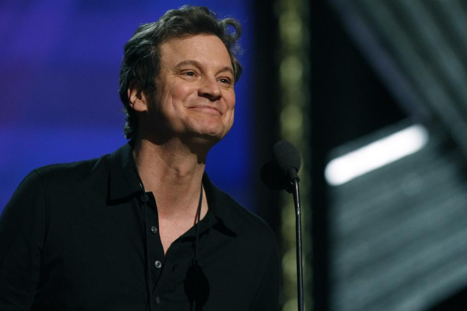 Actor Colin Firth rehearses for the 84th Academy Awards, Saturday, Feb 25, 2012 in Los Angeles. (AP Photo/Chris Carlson)