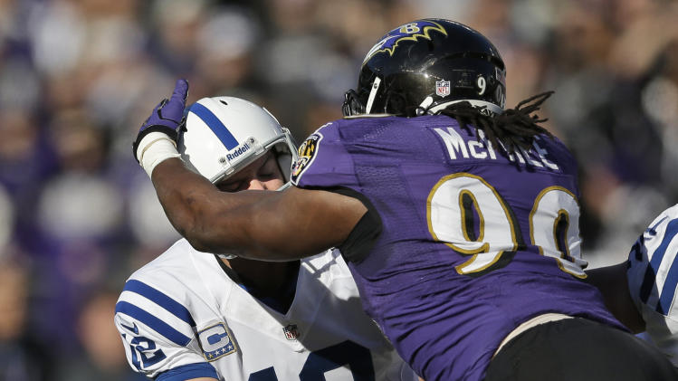 Indianapolis Colts quarterback Andrew Luck (12) fumbles the ball as he is hit by Baltimore Ravens nose tackle Ma'ake Kemoeatu (96) during the first half of an NFL wild card playoff football game Sunday, Jan. 6, 2013, in Baltimore. The ball was recovered by the Ravens. (AP Photo/Patrick Semansky)