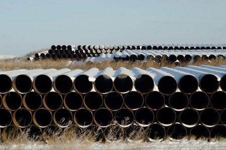 FILE PHOTO --  A depot used to store pipes for Transcanada Corp's planned Keystone XL oil pipeline is seen in Gascoyne, North Dakota