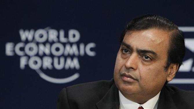 Chairman and Managing Director of Reliance Industries Mukesh Ambani attends the opening plenary session of the WEF India Economic Summit in Mumbai