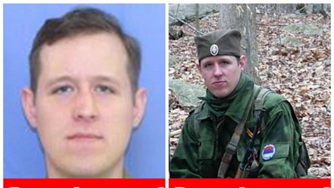 This combination of undated images provided by the Federal Bureau of Investigation after the capturing of Eric Matthew Frein, on Thursday, Oct. 30, 2014, show Frein, 31, of Canadensis, Pa. Authorities said Thursday that they have captured Frein, who had been eluding police, but is charged with killing one Pennsylvania State Trooper and seriously wounding another. (AP Photo/FBI)