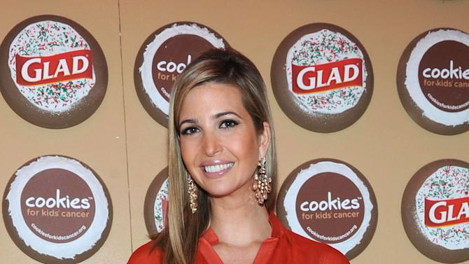 Ivanka Trump, mother and businesswoman, joins The Glad Products Company to celebrate National Cookie Day and the 89th annual New York Stock Exchange tree lighting by giving away thousands of cookies, Tuesday, Dec. 4, 2012, in New York.  For every cookie exchanged this holiday season, Glad will make a donation to its longstanding partner Cookies for Kids' Cancer, a nonprofit that raises funds for pediatric cancer research through cookie sales. (Photo by Diane Bondareff/Invision for Glad/AP Images)