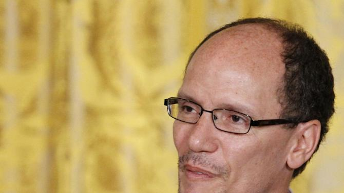 Thomas E. Perez, President Barack Obama's nominee for Labor Secretary, speaks in the East Room of the White House in Washington, Monday March 18, 2013, where the president made the announcment. (AP Photo/Jacquelyn Martin)