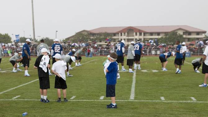 A USAA branded sign is seen during NFL Pro Bowl Practice at Joint Base Pearl Harbor Hickam, Thursday, Jan. 24. 2013 in Honolulu.  (Marco Garcia/AP Images for USAA)