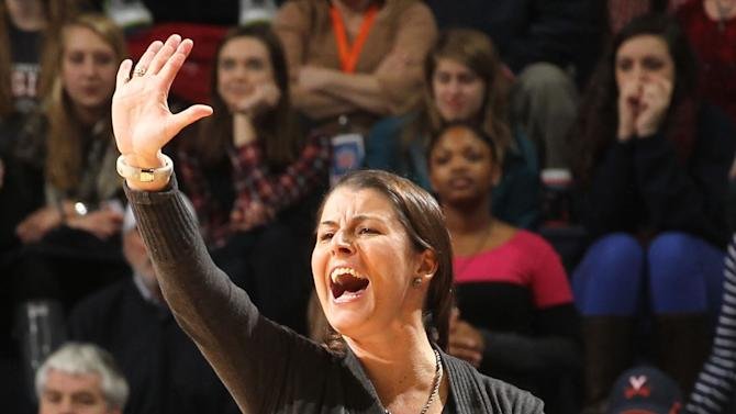 Duke coach Joanne P. McCallie calls a play during an NCAA college basketball game against Virginia on Friday, Feb. 8, 2013, in Charlottesville, Va. (AP Photo/Andrew Shurtleff)