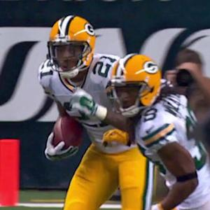 Green Bay Packers safety Ha Ha Clinton-Dix intercepts Detroit Lions quarterback Matthew Stafford
