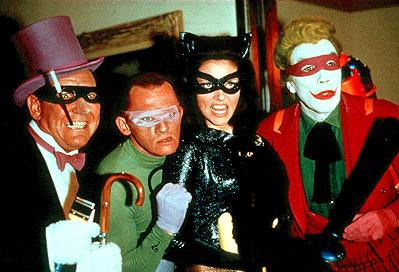 Burgess Meredith as The Penguin, Frank Gorshin as The Riddler, Lee Meriwether as Catwoman and Cesar Romero as The Joker in 20th Century Fox's Batman: The Movie