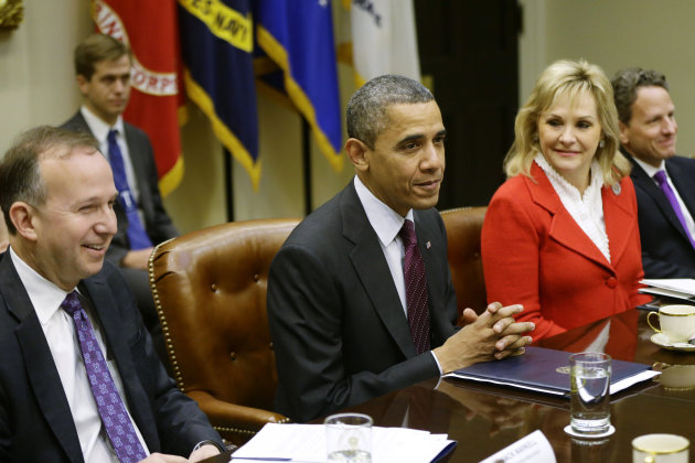 <p>               President Barack Obama, flanked by National Governors Association (NGA) Chairman, Delaware Gov. Jack Markell, and NGA Vice Chair, Oklahoma Gov. Mary Fallin, meets with the NGA executive committee regarding the fiscal cliff, Tuesday, Dec. 4, 2012, in the Roosevelt Room at the White House in Washington. Treasury Secretary Tim Geithner is at right. (AP Photo/Charles Dharapak)