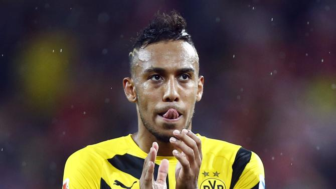 Borussia Dortmund's Aubameyang reacts after the German first division Bundesliga soccer match against FSV Mainz 05 in Mainz