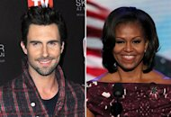 Adam Levine, Michelle Obama | Photo Credits: Jerod Harris/WireImage; Alex Wong/Getty Images