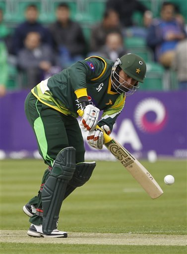 Pakistan's Nasir Jamshaid batting against Ireland in the One Day Cricket  International at Clontarf Cricket Club, Dublin, Ireland, Thursday, May 23, 2013