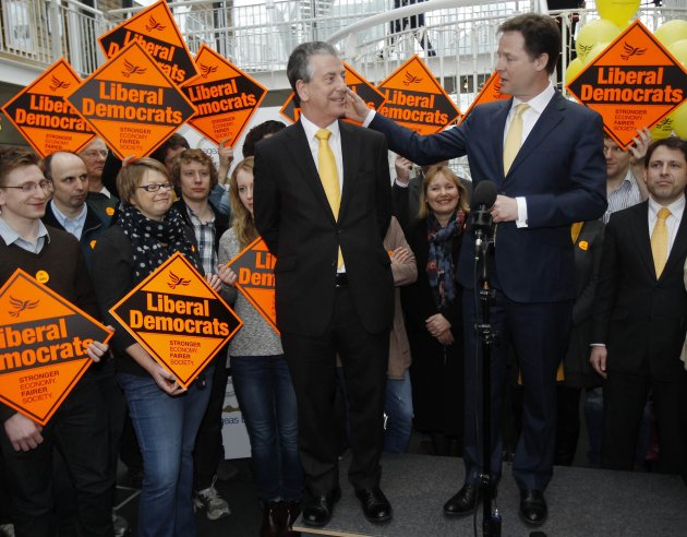 Nick Clegg, leader of the Liberal Democrats congratulates newly elected MP Michael Thornton in Eastleigh