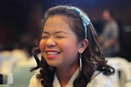 Kiray Celis, one of the cast of the show is seen during the press conference of the new teen comedy show &quot;Luv U&quot; held in the ELJ building in Quezon city, north-east of Manila on 10 February 2012. The show premieres on February 19, Sunday after &quot;ASAP Rocks&quot; on ABS-CBN. (George Calvelo/NPPA Images)