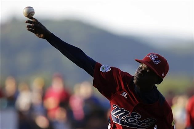 Uganda pitcher Felix Enzama during the 2012 Little League World Series — Associated Press