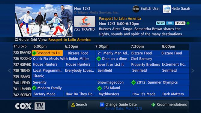 This image provided by Cox Communications shows a program guide for television set-top boxes to make it easier to find programs available live or on demand. Itís an important development for cable TV companies, as they face criticisms for providing hundreds of channels that customers donít watch. Making shows easier to find helps the companies justify all those channels. (AP Photo/Cox Communications)