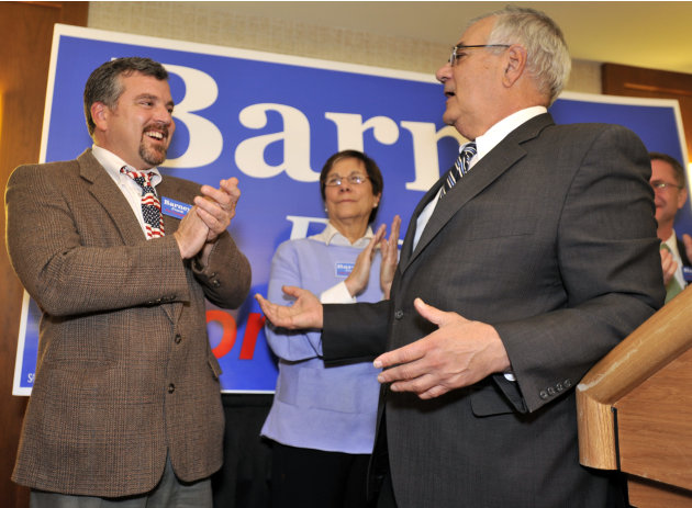 FILE - In this Nov. 2, 2010 file photo, Rep. Barney Frank, D-Mass., right, thanks his partner Jim Ready at a party in Newton, Mass., after Frank won re-election in the 4th Congressional District. A sp