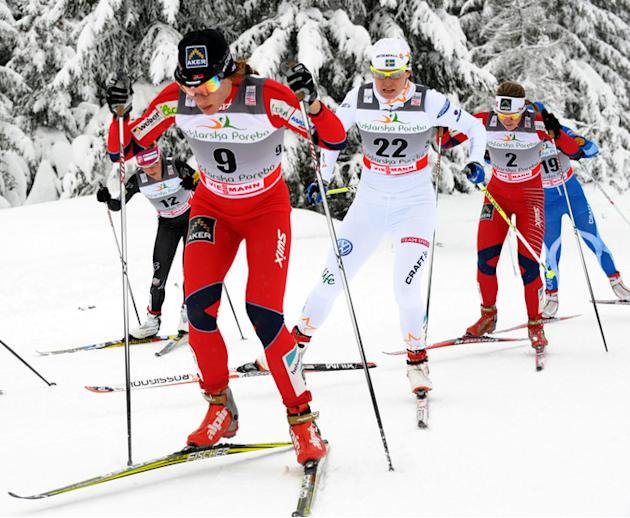 Evgenia Shapovalova Of Russia (Far L), Maiken Caspersen Falla Of Norway (2nd L), Ida Ingemarsdotter Of Sweden (3rd L), AFP/Getty Images