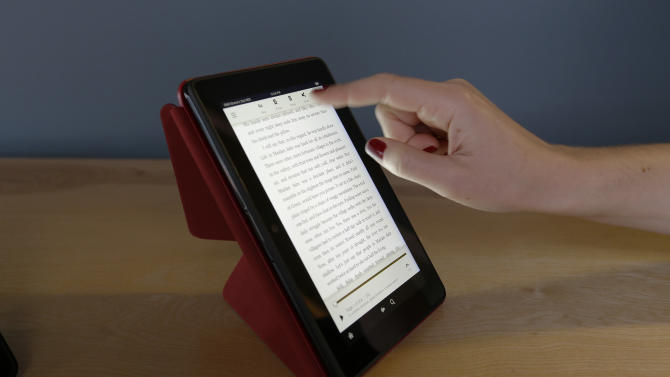 The 7-inch Amazon Kindle HDX is shown Tuesday, Sept. 24, 2013, in Seattle.
